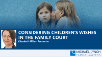"""A screenshot of a webinar """"Considering children's wishes in the family court"""""""