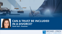 "A screenshot of a webinar ""Can a trust be included in a divorce?"""