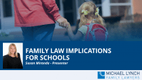 "A screenshot of a webinar ""Family law implications for schools"""
