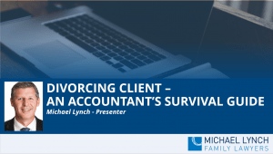 """A screenshot of a cover page for a Family Law webinar """"Divorcing client - an accountant's survival guide"""""""