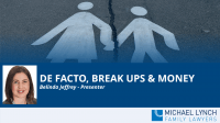 """A screenshot of a cover page for a Family Law webinar """"De facto, break ups and money"""""""