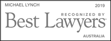 "A black and white logo that reads ""Best Lawyers 2019. Michael Lynch"", recognising Michael Lynch in The Best Lawyers in Australia for work in Family Law."